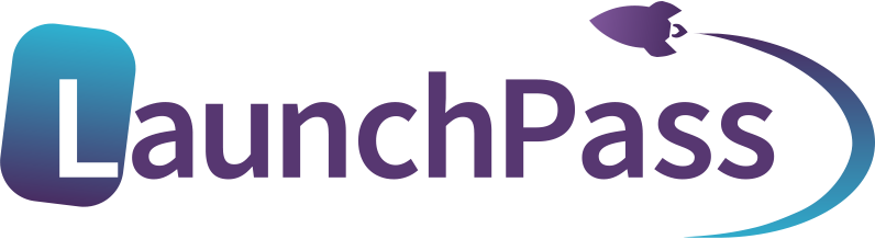 Launchpass logo letter L in tilted rectangle with rounded corners and rocketship symbol curving up and around